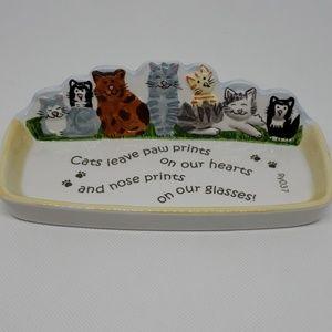 Cats Ceramic Tray for glasses or knick knacks